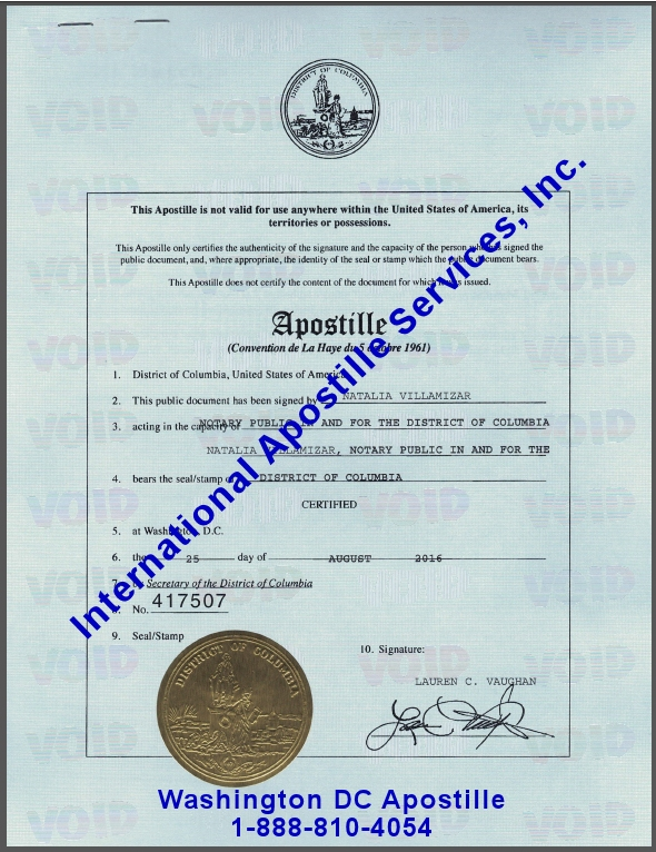 Washington DC Apostille