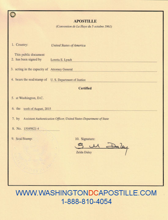 US Department of State Apostille Example