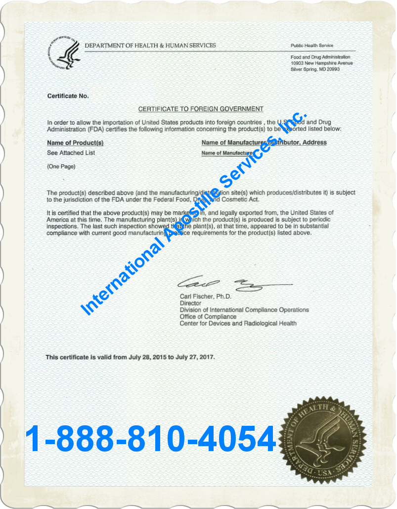 Apostille Certificate To Foreign Government Fda
