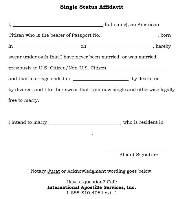 Apostille No Record Of Marriage Single Status